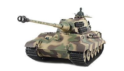 RC tank Kingtiger met Henschel koepel met rook en geluid en metalen motoraandrijving, kettingen en aandrijfwielen 23053