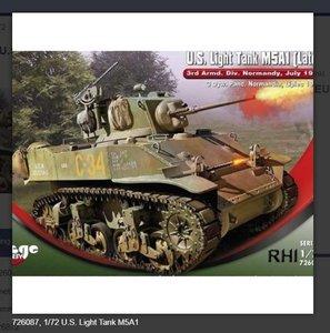 Bouwpakket Mirage-Hobby Mirage 726087, 1/72 U.S. Light Tank M5A1