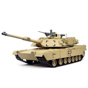 RC tank 1/16 RC M1A2 Abrams sand BB+IR 2.4GHz  met schietfunctie rook en geluid en IR en metal tracks 1116039182