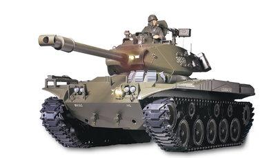RC tank  M41 A3 Walker bulldog 1:16  met schietfunctie  2.4GHZ en metalen aandrijving BB en IR battle functie V6.0 uitvoering
