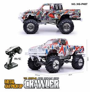 RC auto HG P407 1/10 2.4G 4WD Rc Car for TOYATO Metal 4X4 Pickup Truck Rock Crawler RTR graffiti